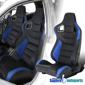 Black Blue Durable PVC Leather Left Side Carbon Fiber Look Sporty Racing Seat