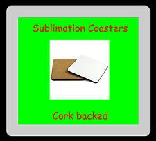 50 x MDF Blank Sublimation Coasters 9cm x 9cm cork backed