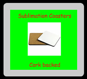 6 x MDF Blank Sublimation Coasters 9cm x 9cm cork backed