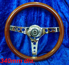 WOODRIM STEERING WHEEL BY SPRINGALEX 340MM CHROME SPOKES CLASSIC MINI FITTING