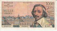Vintage Banknote France 1955 1000 Francs Pick 134a Choice Crisp VF/XF US Seller
