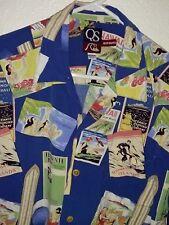 "Quiksilver ® Men's 100% Rayon Shirt Hawaiian Travel Posters on Blue M 23"" P2P"