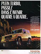 Publicité Advertising 1986 Toyota Land Cruiser Turbo