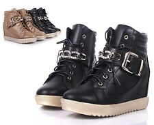 Black Rhinestone Lace Up Sneaker Military Hidden Heels Womens Boots Size 8.5