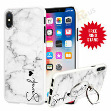 Personalised Marble Phone Case Cover & Finger Ring Stand For Top Mobiles 076-5