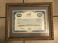 Sirius Satellite Radio Common Stock Certificate with Custom Framing 16W x 14L