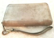 Fossil 1954 Womens Lrg Gold Distressed Leather Wallet Wristlet Zip Around Purse