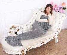 MERMAID TAIL SOFA BLANKET WARM CROCHETED KNIT LAPGHAN CREWEL COVERLET GREY