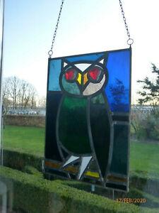 Bleiverglasung Antikglas  Fensterbild  Eule  Glasfensterbild