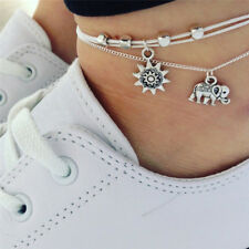Bohemia Elephant Sun Pendant Anklet Foot Chain Anklet Barefoot Beach Jewelry Qy