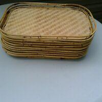 10 Vtg.Hampton Brass Bamboo Woven Serving Trays Matching Rattan Wicker Tiki