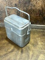 Vintage 3 Pc Coal Miners French Lunch Pail Aluminum Bucket ~ Made in France