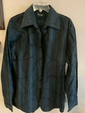 Eighty Eight Mens Blue Black Dress Button Up Shirt L