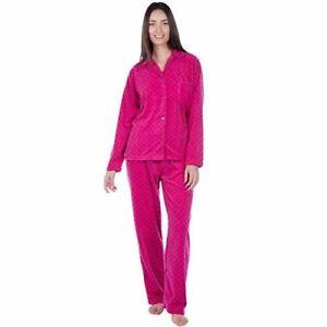 Ladies Fleece PJ Spot Print Pyjama Set 100% Polyester Fleece with Revere Collar