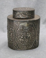 Beautiful Antique Repousse Silver Plated Tea Caddy with Engraved Initials
