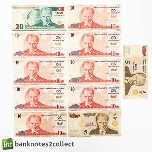 TURKEY: 110 Turkish Lira in Mixed Denomination Banknotes.
