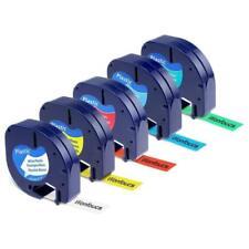 S0721660 Plastik Etikettenband Schwarz auf Wei/ß 12mm x 4m Kompatibel mit Dymo Etikettierger/äte LT-100H LT-100T LT-110T QX 50 XR XM 2000 5x Ersetzen Dymo LetraTag 91221 Kunststoff Schriftband