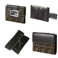 $375 NEW FENDI WALLET IN CLASSIC FF ZUCCA W/ DUST COVER ~ Brown Leather FF Front