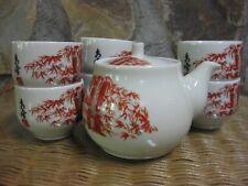 Vintage Japanese Yokode No Kyusu Teapot Cups Set Iron Red Gilt Bamboo Celadon