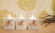 Set of three Vintage white tea light candle holder shabby chic table accessories
