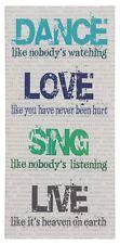 Bild Keilrahmen Schriftzug Dance Love Sing Live weiß grün 33x70cm