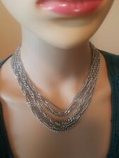 Vintage Crown Trifari Necklace Silver Tone 7 Chains Pretty