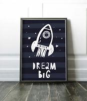 Dream Big Rocket Print Nursery Art Bedroom Print / Picture / Wall Art