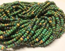 """Mixed Size Czech Glass Seed Bead Mix - Aqua Heart Aged Striped Picasso - 20"""" Str"""