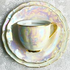 Vintage 1940's HAAS CZJZEK Czechoslovakian Pearl Lustre Trio Cup/Saucer/Plate