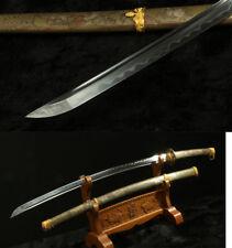 Carbon Steel Clay Tempered Japanese Samurai Katana Full Tang Sharp Copper Saya