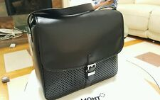 Montblanc Meisterstuck Soft Black Calfskin Messenger / Bag / Briefcase - New