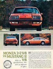 1975 Chevrolet Monza 2+2 V8 Road Test Original Car Review Print Article J657