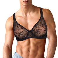 Sissy Bras Sexy Lace Mens Brassiere Flat-chested Plus Size Bralette Underwear