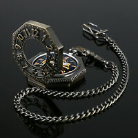 Mens Pocket Watch Mechanical Black Face Hand-winding Octagon Retro Chain Luxury