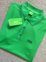 "HUGO BOSS GREEN LABEL GREEN SLIM ""PAULE"" GOLF POLO SHIRT TOP - S M L - NEW TAGS"