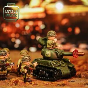 ⎡LEYILE BRICK⎦ Pre-order Custom Molded Sherman Tank and Army Soldier Figure