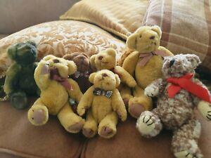 7 miniature Teddy bears 4 to 6inch