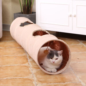 Pet Cat Tunnel Crinkly Tent with Ball Play Fun Holes Collapsible Hiding Cat Toys