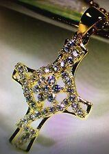 14K gold manual mosaic diamond cross pendant necklace