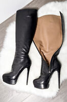 Nando Muzi Made in Italy high heels stiletto platform leather boots 38