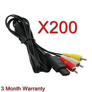 200 LOT NEW AV Audio Video Cables for SNES SUPER NINTENDO N64 Gamecube
