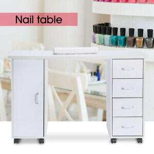 Beauty Nail Table Rolling Manicure Station Wooden Desk W/1 Door&4 Drawers