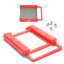 """Plastica STAFFA Adattatore Mount Rosso 2.5"""" SSD - 3.5"""" HDD Disco Rigido, Viti PC"""