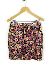 REVIEW Skirt - Vintage Retro Style Pencil Button Black Pink Floral Roses - 10/M