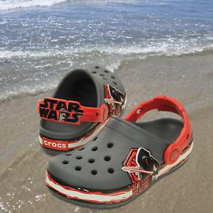 NWT CROC'S Crocband Star Wars Kylo Ren Clogs Toddler Boys Dark Grey/Red Size 4.5