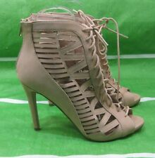 "LADIES Skintone 4.5""Stiletto High Heel Open Toe LACE UP  Sexy Shoes Size 10"