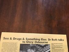 1 Page 1986 Print Article/Interview Dr Ruth Talks To Ozzy Osbourne Sex&Drugs
