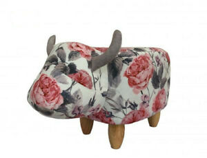 Floral Cow Footstool Animal Foot Rest Large Wooden Adult & Kids Luxury Ottoman