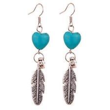 Cute New Tibetan Silver Turquoise Heart Bead & Feather Dangle Drop Earrings