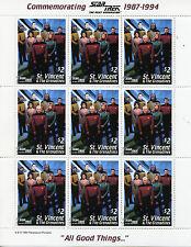 St Vincent & Grenadines 1994 MNH Star Trek Next Generation 2x 9v M/S Stamps